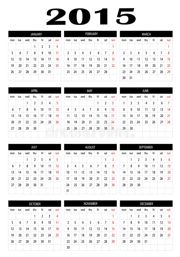 Календарь 2015 иллюстрация штока