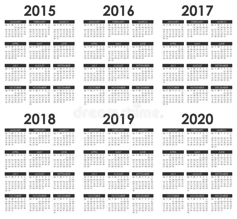 2015 - Календарь 2020 иллюстрация штока