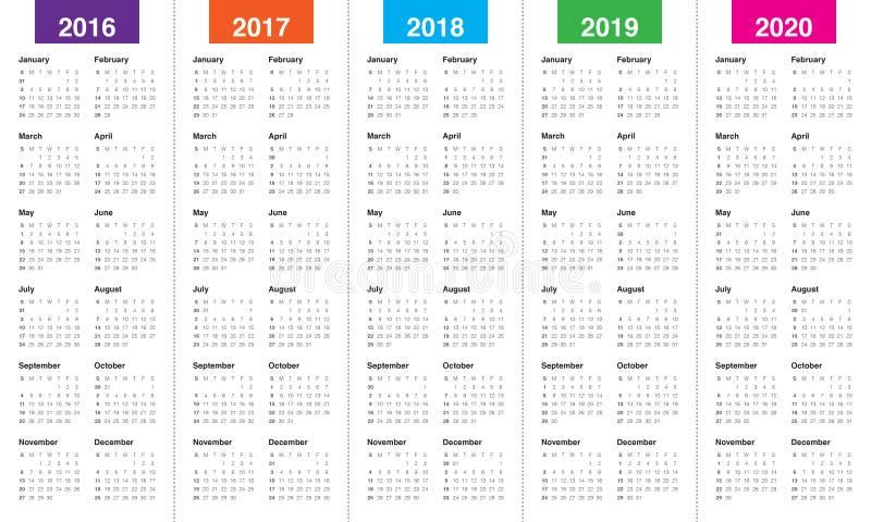 Календарь 2016 2017 2018 2019 2020 иллюстрация вектора