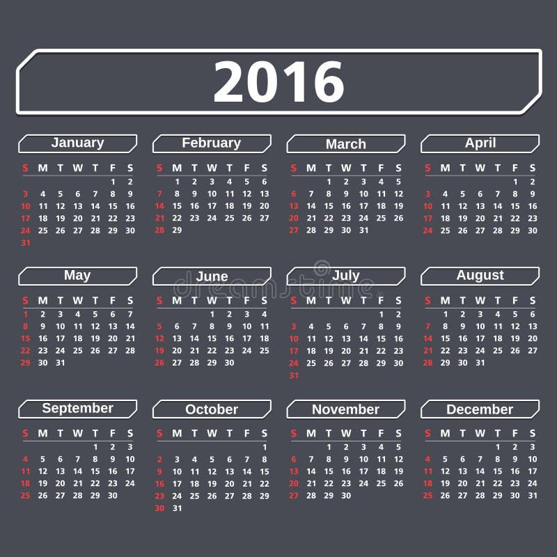 календарь 2016 бесплатная иллюстрация