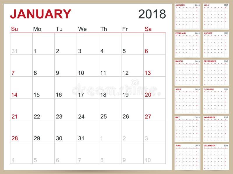Календарь 2018 бесплатная иллюстрация