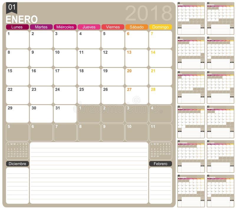 Календарь 2018 иллюстрация вектора