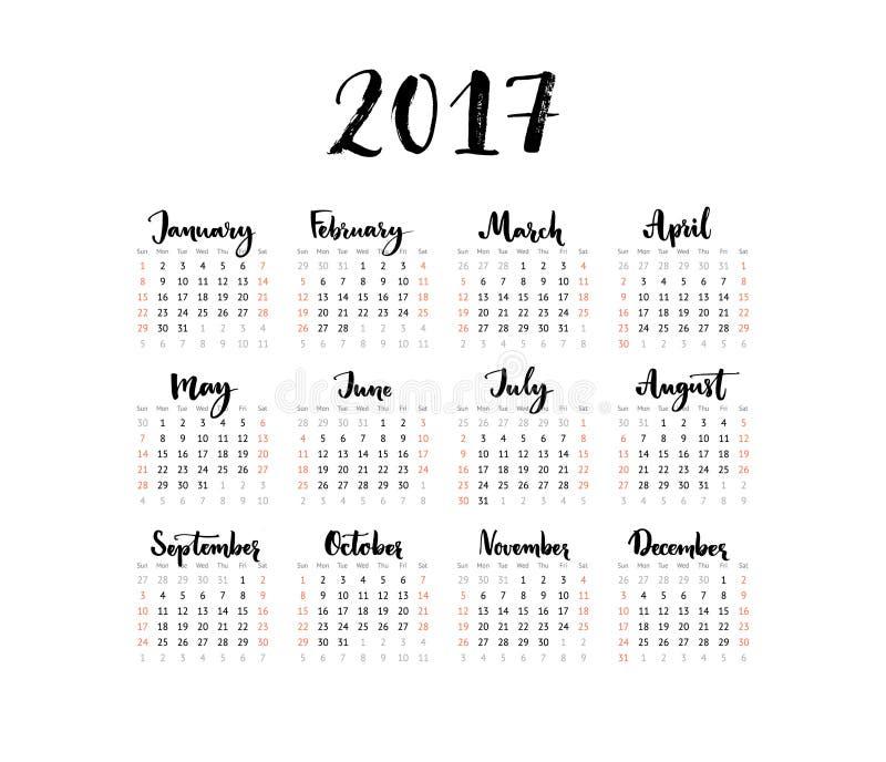 Календарь Minimalistic, 2017 год Неделя начинает воскресенье Рукописные месяцы Черно-белый простой дизайн, одна решетка листа бесплатная иллюстрация