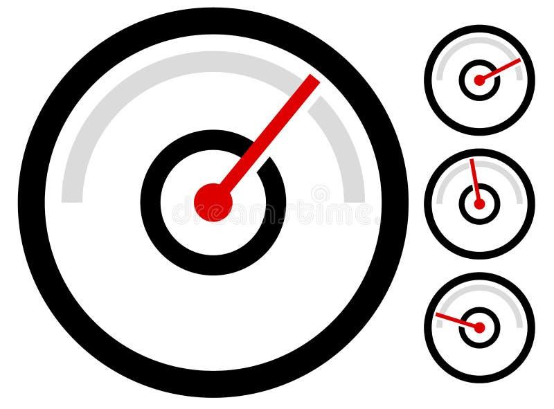 Калибруйте символ метра, значок на 4 этапах манометр, одометр, иллюстрация штока