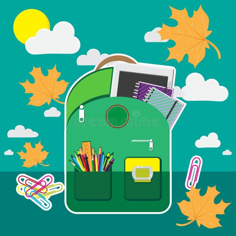 Каллиграфическая задняя часть к иллюстрации школы, канцелярским принадлежностям таблетка компьютера перед голубым небом с осенью  бесплатная иллюстрация