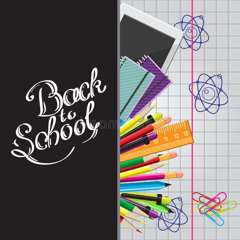 Каллиграфическая задняя часть к иллюстрации школы с комплектом канцелярских принадлежностей, таблетки компьютера на листе книги т бесплатная иллюстрация