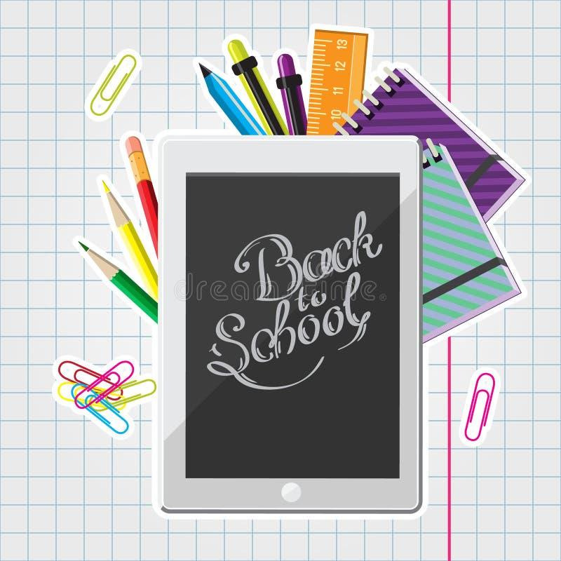 Каллиграфическая задняя часть к иллюстрации школы с комплектом таблетки канцелярских принадлежностей и компьютера на книге тренир иллюстрация вектора