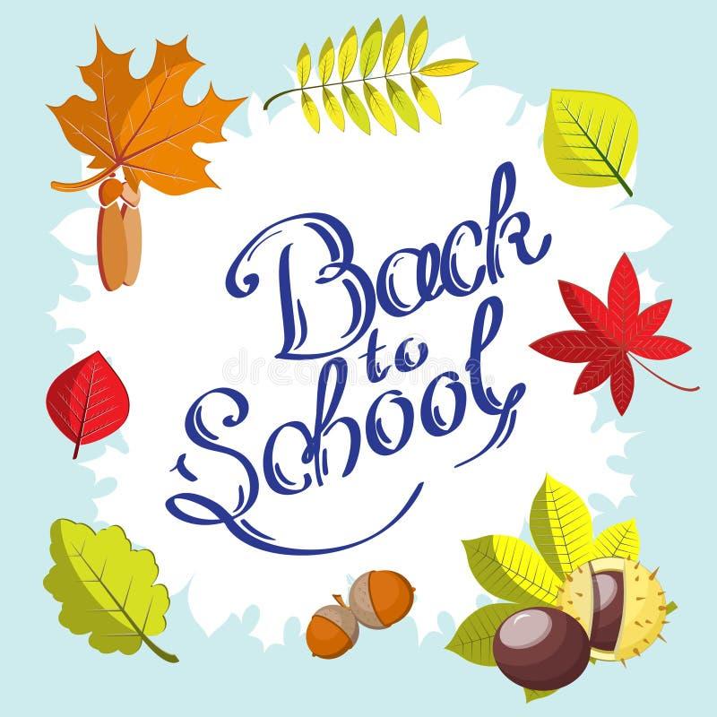 Каллиграфическая задняя часть к нарисованной руке школы окруженной рамкой с листьями осени бесплатная иллюстрация