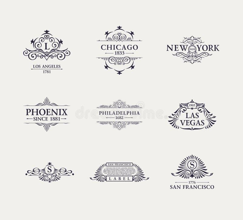 Каллиграфическая роскошная линия логотип Расцветает элегантный вензель эмблемы Королевский винтажный дизайн рассекателя иллюстрация вектора