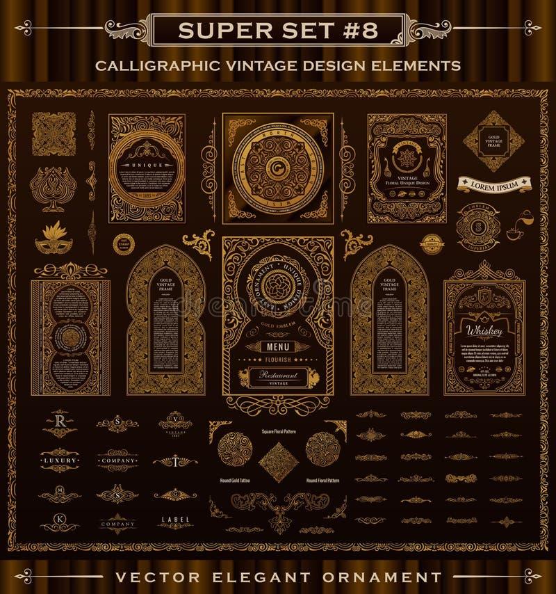Каллиграфические винтажные элементы Комплект барокк вектора Значки дизайна иллюстрация штока
