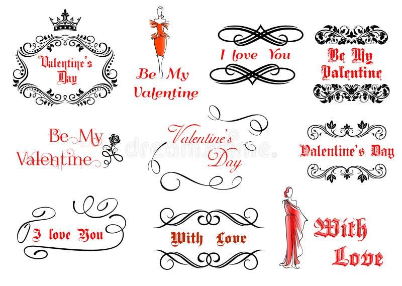 Download Каллиграфические и винтажные элементы для валентинки Иллюстрация вектора - иллюстрации насчитывающей headline, праздник: 33733379