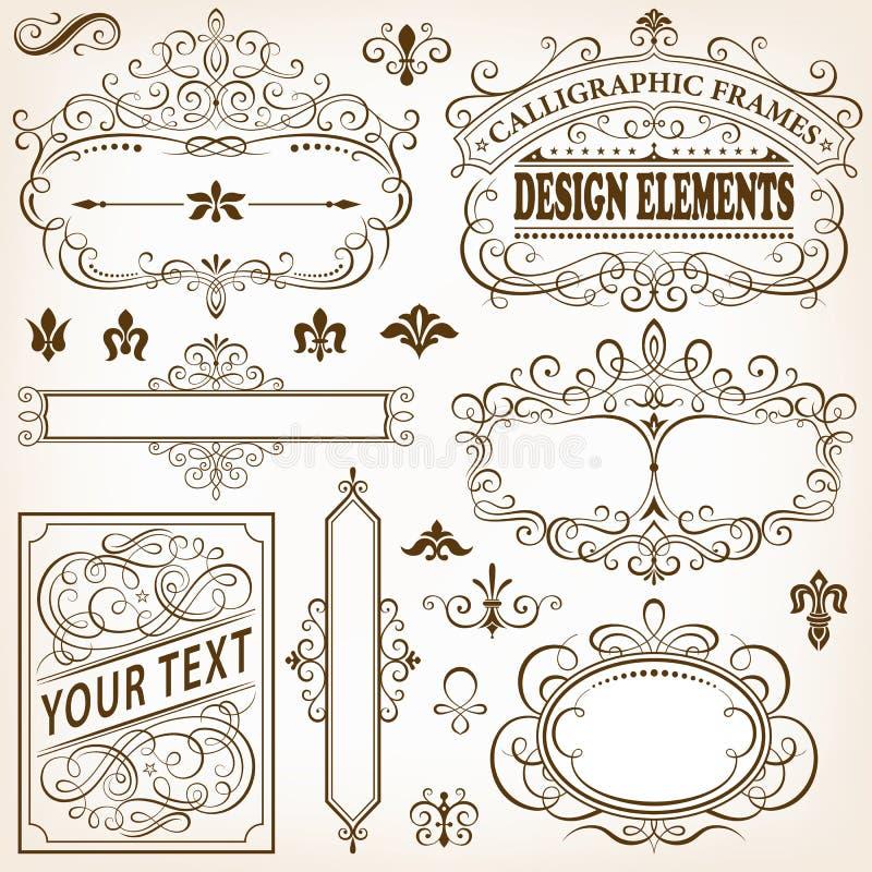 Каллиграфические рамки и элементы дизайна II иллюстрация вектора