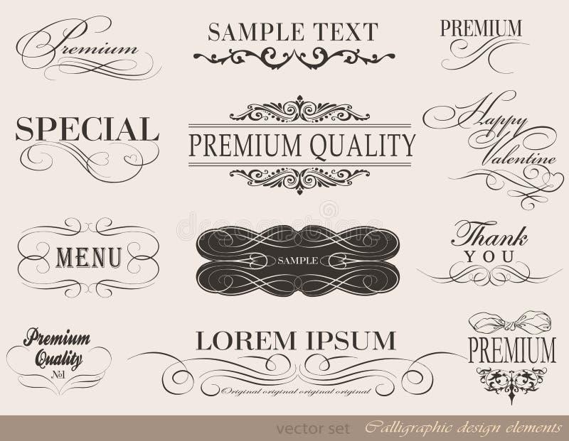 Каллиграфические элементы дизайна бесплатная иллюстрация