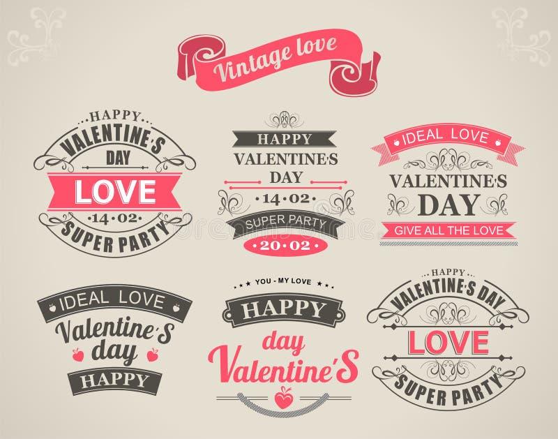 Каллиграфический день валентинок элементов дизайна иллюстрация вектора
