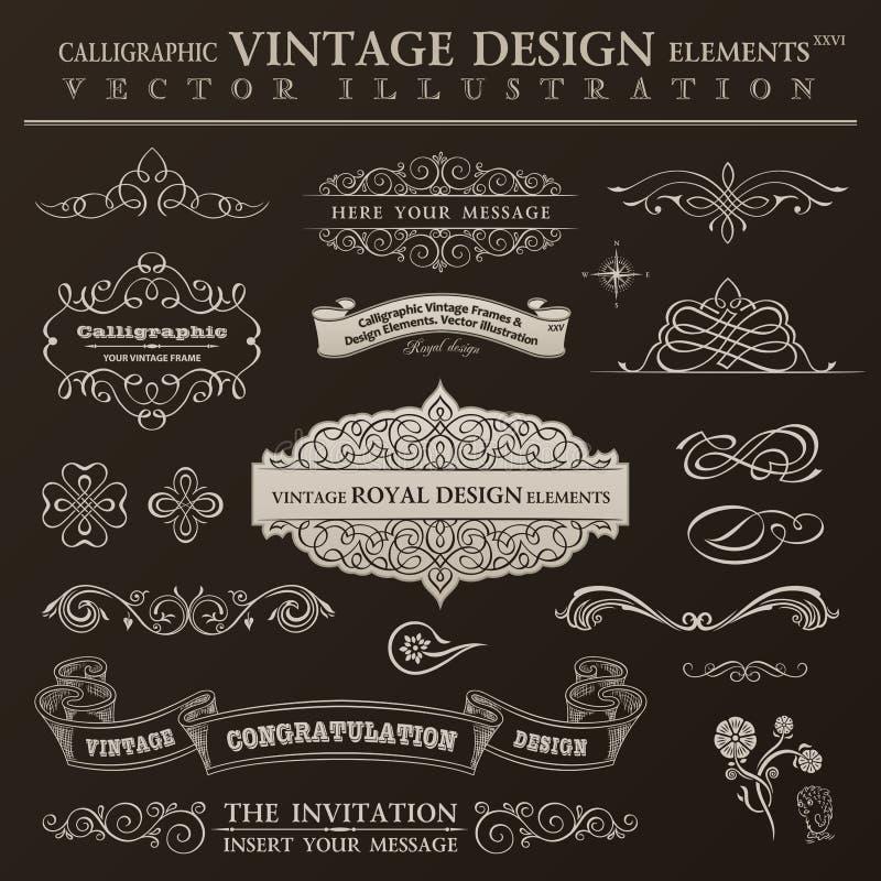 Каллиграфический комплект года сбора винограда элементов дизайна Рамки орнамента вектора иллюстрация вектора