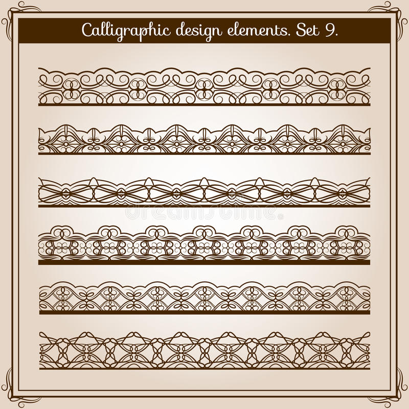 Каллиграфический комплект границы Границы шнурка вектора горизонтальные безшовные бесплатная иллюстрация
