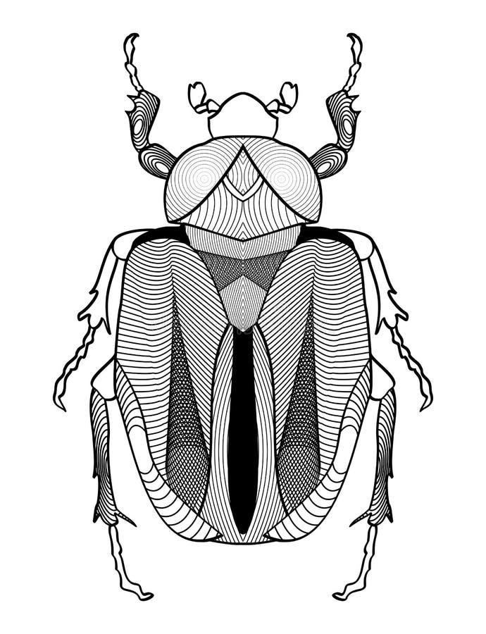 Каллиграфический чертеж жука в черно-белом Форма жука украшенная с графическими элементами желтый цвет обоев вектора уравновешива бесплатная иллюстрация