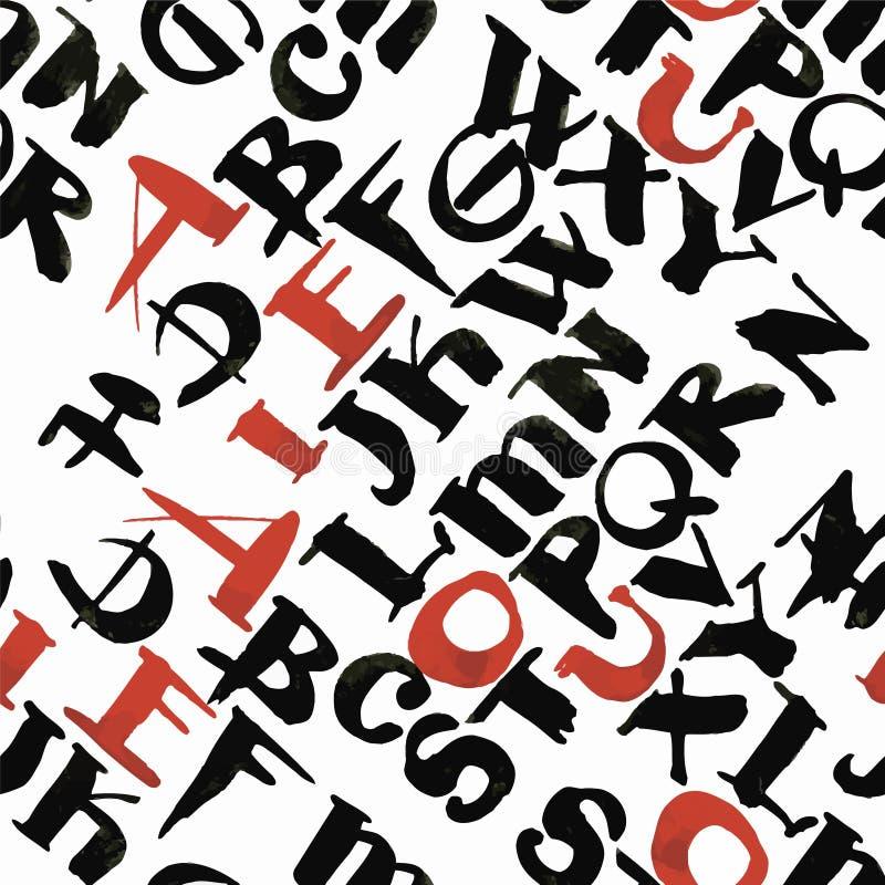 Каллиграфия акварели алфавита Abc помечает буквами безшовную иллюстрацию вектора картины бесплатная иллюстрация