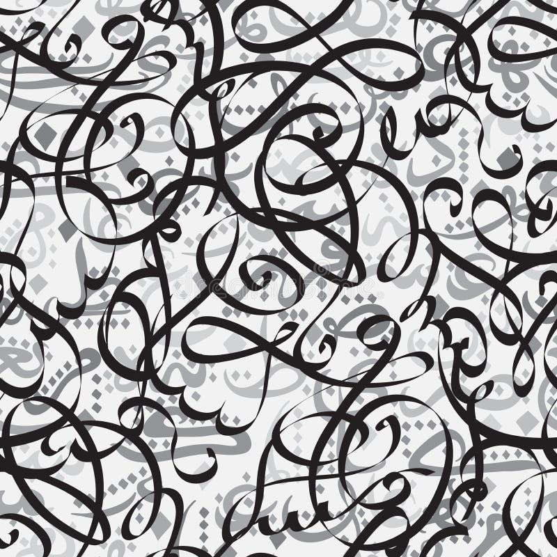 Каллиграфия безшовного орнамента картины арабская концепции Eid Mubarak текста для мусульманского фестиваля общины бесплатная иллюстрация