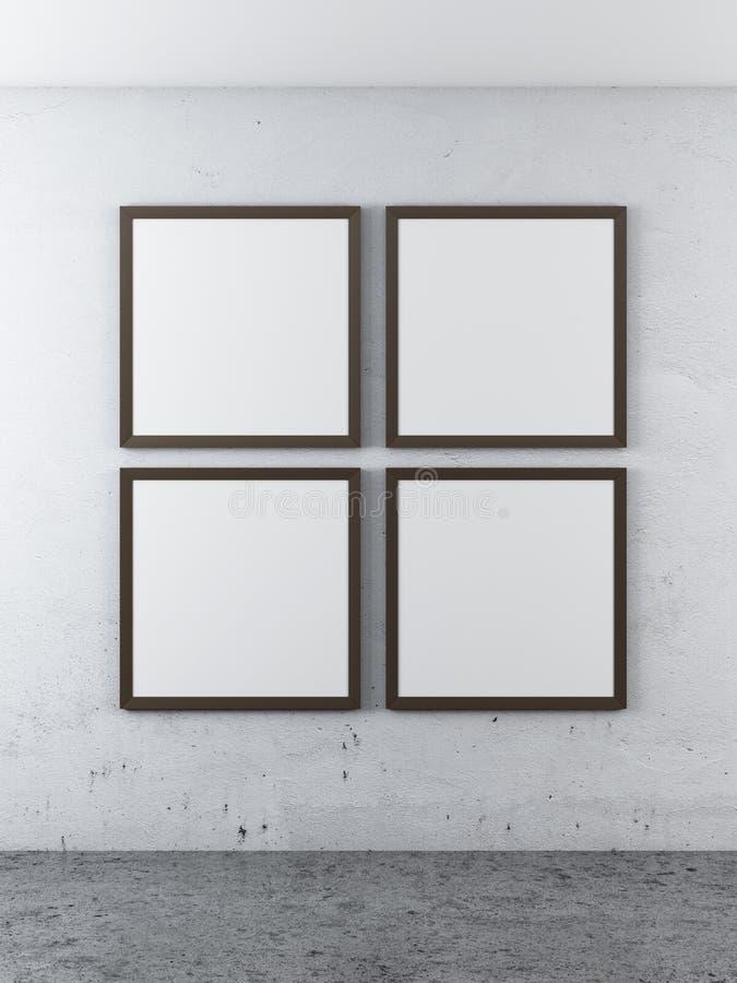 4 кадра на бетонной стене бесплатная иллюстрация