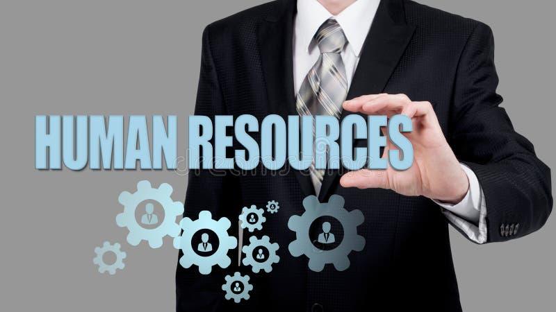 Кадровые ресурсы, CRM, минирование данных и социальная принципиальная схема средств - офицер ища работник представленный иконой стоковое изображение rf