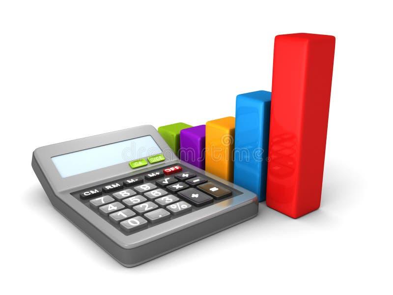 Калькулятор и красочная диаграмма в виде вертикальных полос дела иллюстрация штока