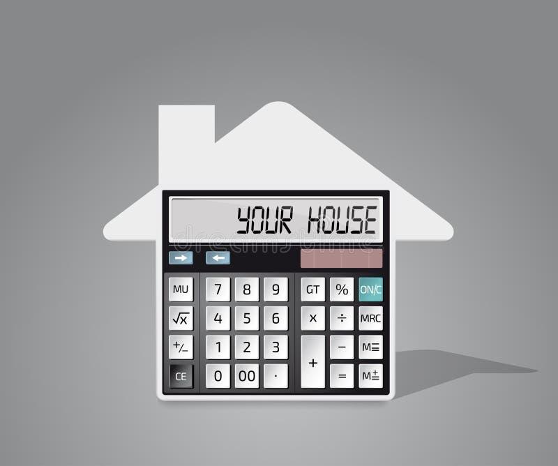 Калькулятор - покупать дом иллюстрация штока