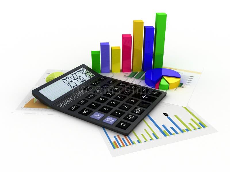 Калькулятор, финансовые отчеты и графики стоковое изображение