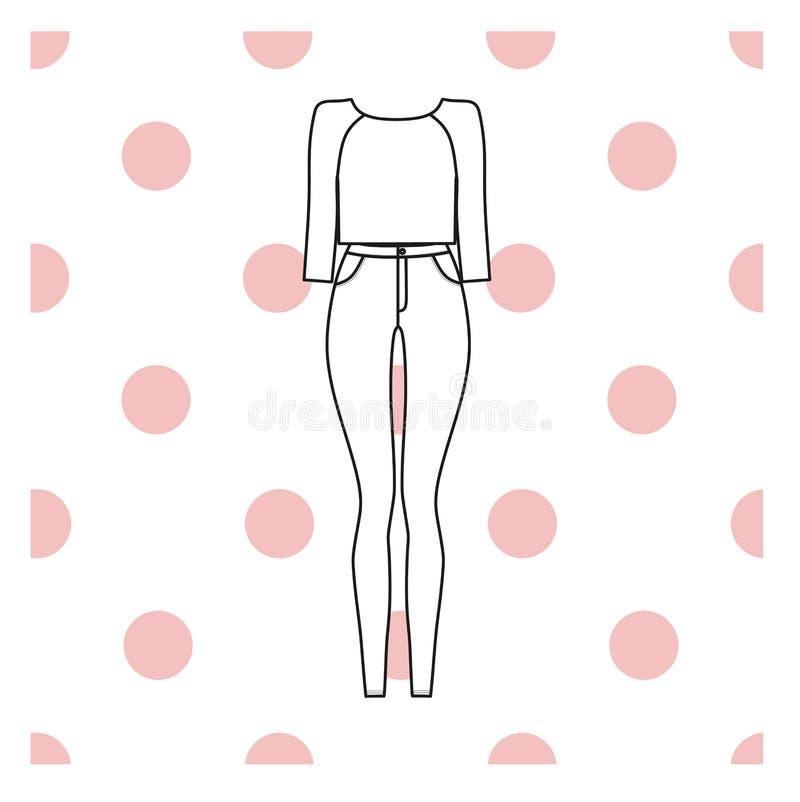 кальсоны Джинсыы шлямбур женщины одежды s иллюстрация штока