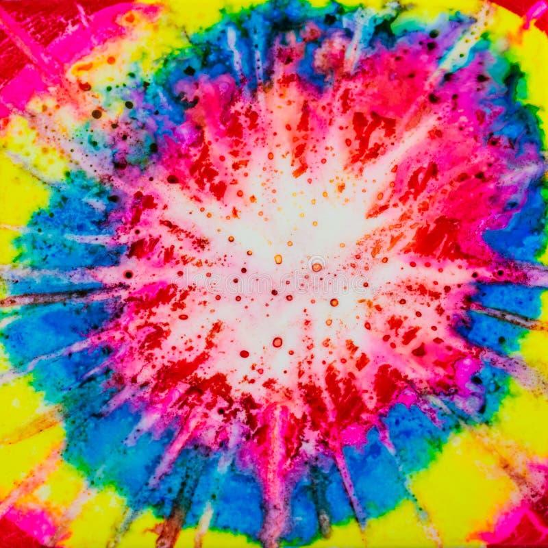 Квадратная акварель с влиянием связ-краски радуги стоковое фото
