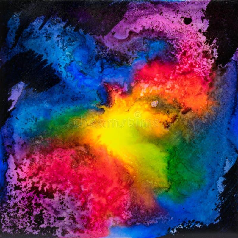 Квадратная акварель с splatter галактики радуги стоковое изображение rf