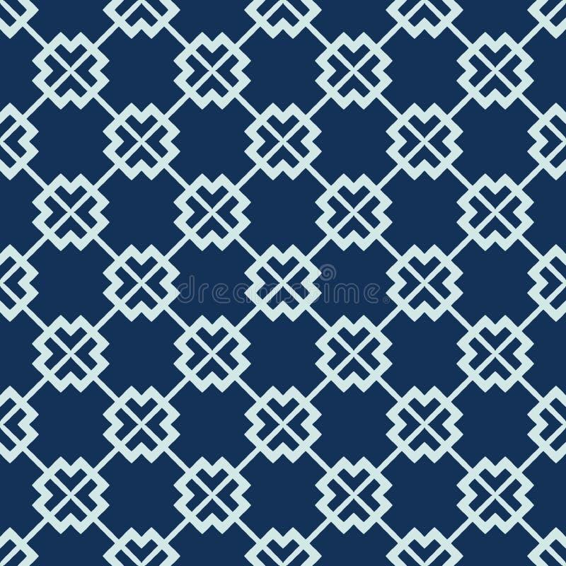 Квадратная картина вектора японского стиля решетки мотива безшовная Лоскутное одеяло индиго руки вычерченное иллюстрация вектора