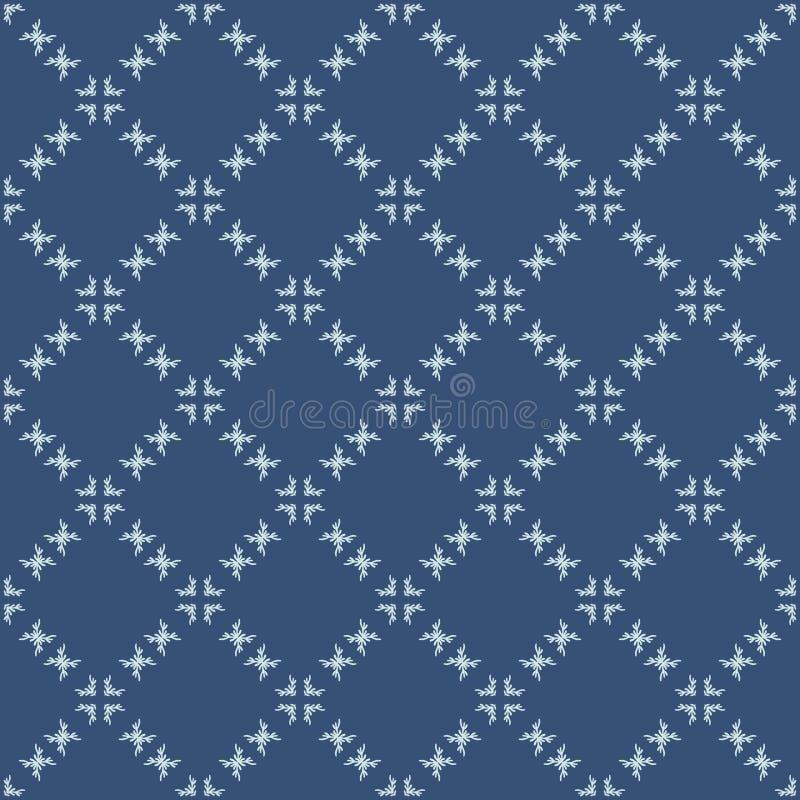 Квадратная картина вектора японского стиля решетки мотива безшовная Индиго руки вычерченное бесплатная иллюстрация