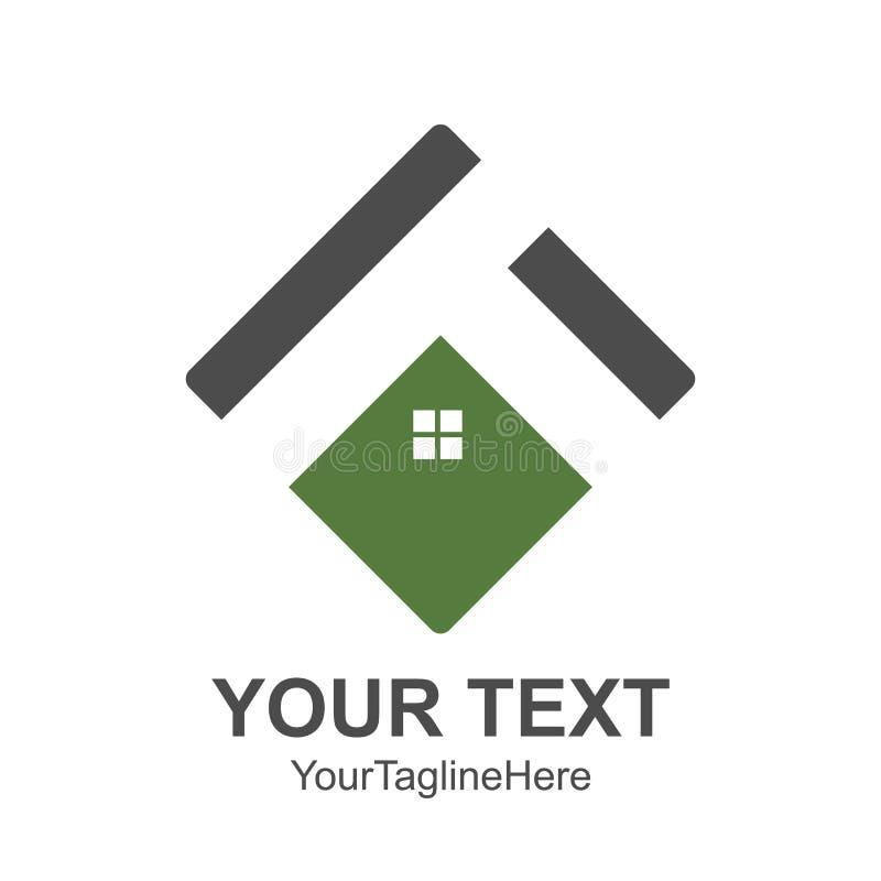 Квадратная крыша дома и домашний логотип vector gre покрашенное элементом зеленое иллюстрация штока