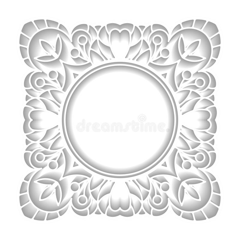 Квадратная рамка в отрезке бумажного стиля с круглым пустым космосом для yo иллюстрация вектора