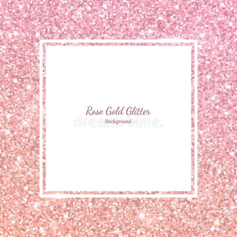 Квадратная рамка яркого блеска с розовым градиентом золота вектор иллюстрация вектора