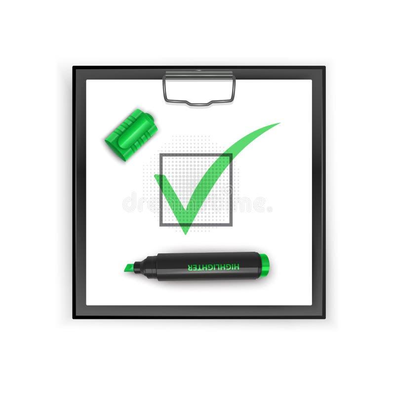 Квадратная черная доска сзажимом для бумаги с зеленым значком контрольной пометки Символ тикания в зеленом цвете, иллюстрации век бесплатная иллюстрация