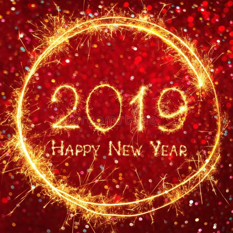 Квадратное знамя С Новым Годом! 2019 сети праздника иллюстрация вектора