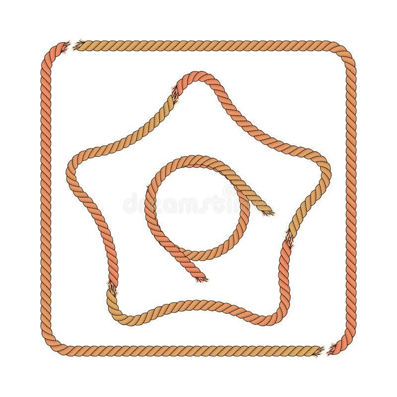 Квадратные рамка веревочки, звезда веревочки и круг также вектор иллюстрации притяжки corel иллюстрация вектора