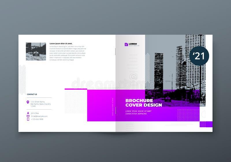Квадратный дизайн брошюры Фиолетовая брошюра шаблона прямоугольника корпоративного бизнеса, отчет, каталог, кассета Брошюра иллюстрация штока