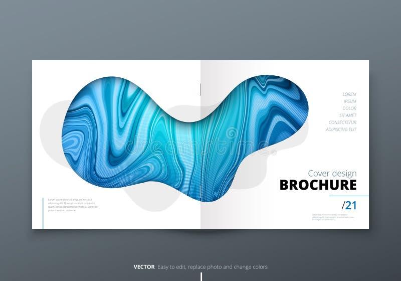 Квадратный дизайн плана шаблона брошюры Годовой отчет корпоративного бизнеса, каталог, кассета, модель-макет рогульки творческо иллюстрация вектора