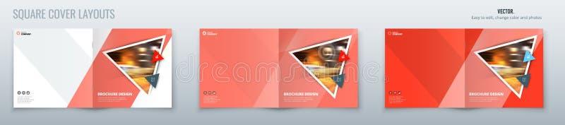 Квадратный дизайн плана шаблона брошюры с треугольниками Годовой отчет корпоративного бизнеса, каталог, журнал, модель-макет летч иллюстрация вектора
