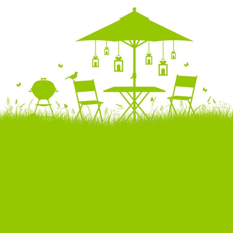 Квадратный зеленый цвет силуэта барбекю сада лета предпосылки иллюстрация вектора