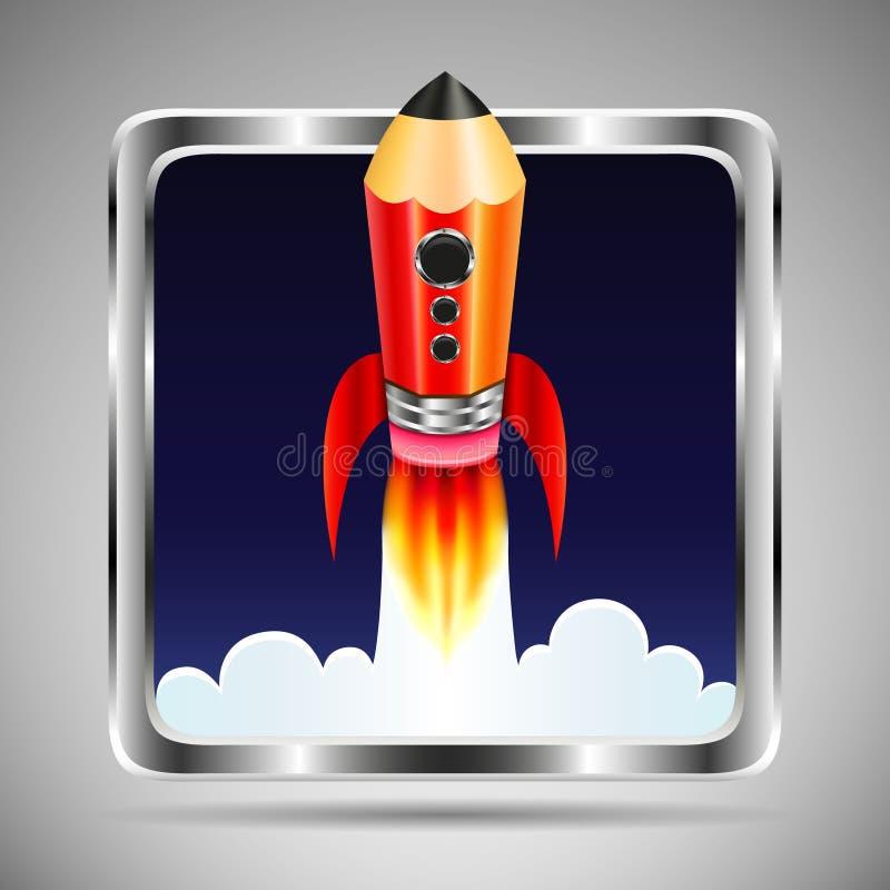 Квадратный значок с рамкой металла Ракета летания в форме карандаша бесплатная иллюстрация