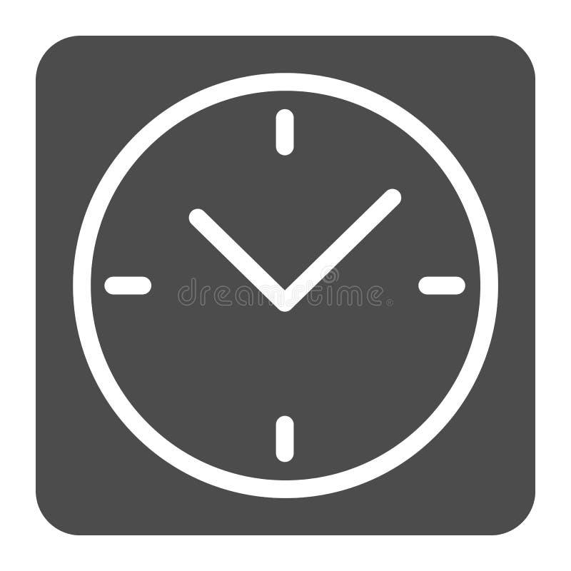 Квадратный значок твердого тела часов Иллюстрация вектора вахты стола изолированная на белизне Дизайн стиля глифа часов, конструи иллюстрация вектора