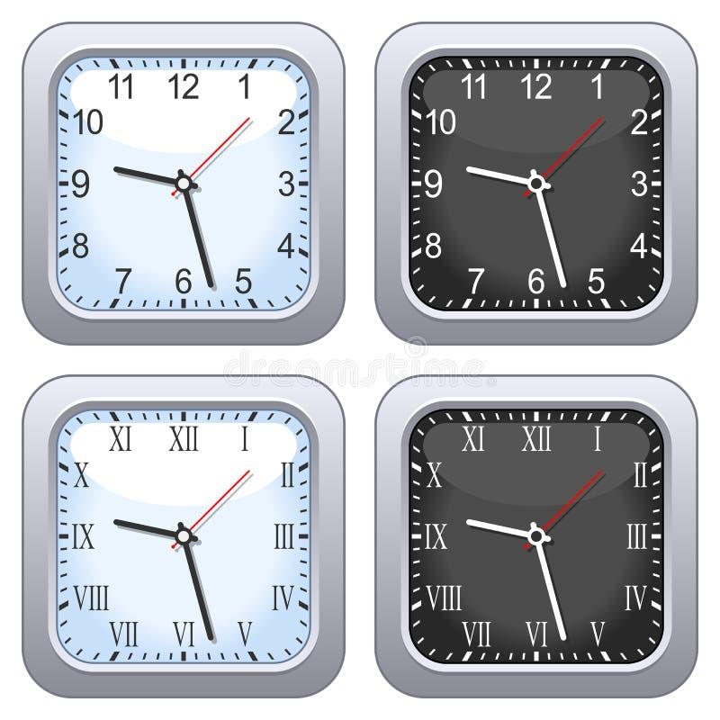 Квадратный комплект часов стены иллюстрация штока