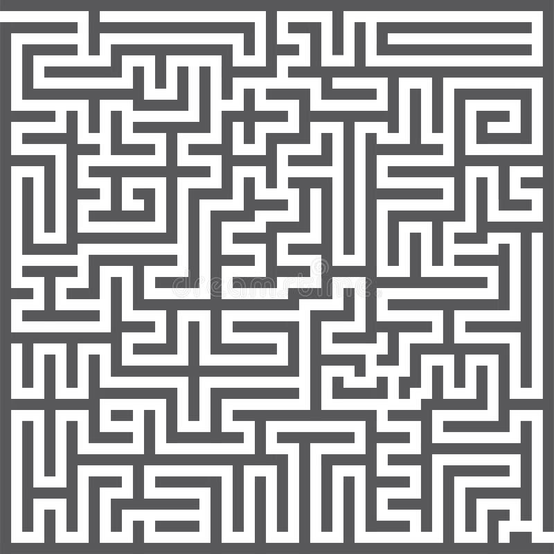 Квадратный лабиринт Игра лабиринта Серый лабиринт для вашего проекта дела r иллюстрация вектора