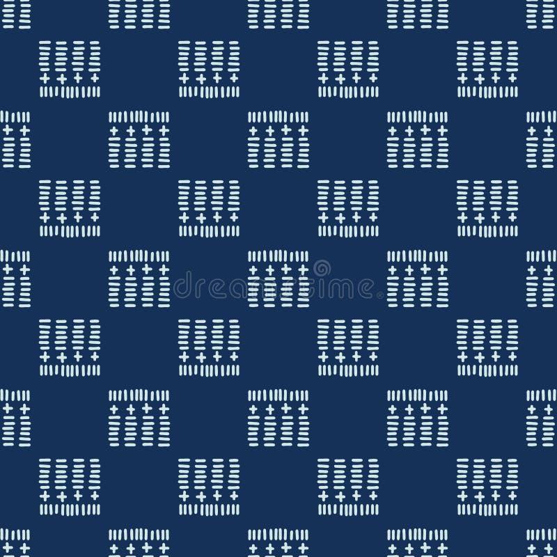 Квадратный мотив Sashiko вводит картину в моду вектора японского Needlework безшовную иллюстрация штока