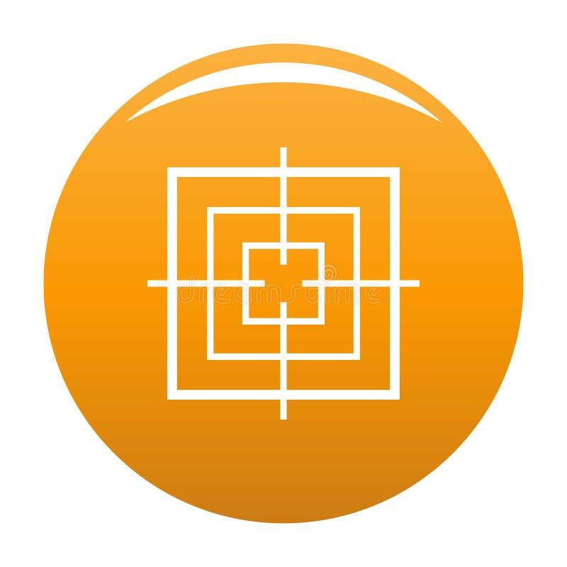 Квадратный объективный апельсин значка иллюстрация вектора