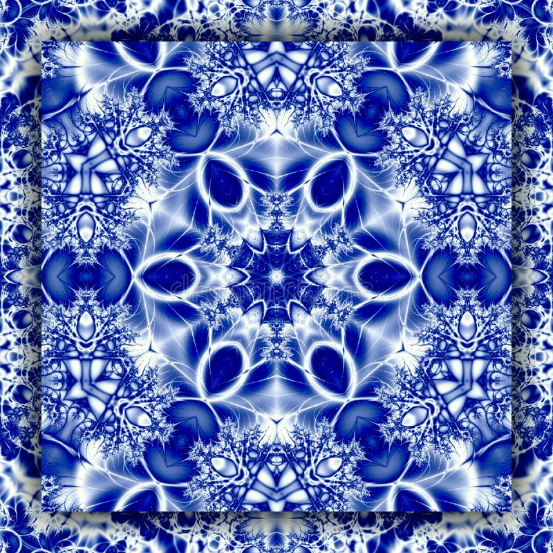 Квадратный половик солнца зимы мандалы снежинки в голубом цвете бесплатная иллюстрация